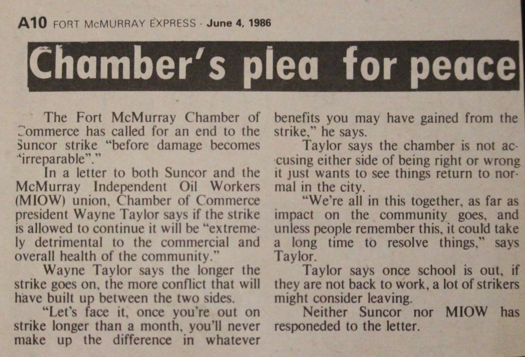 Newspaper clipping from Fort McMurray Express June 4 1986