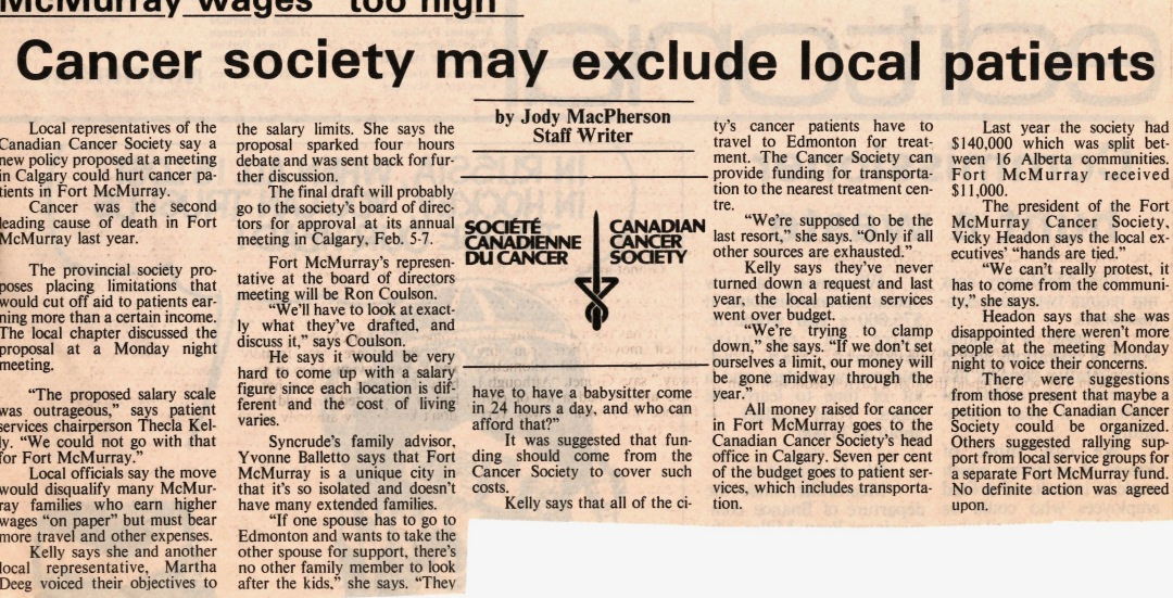 Newspaper clipping from Fort McMurray Express January 21 1987
