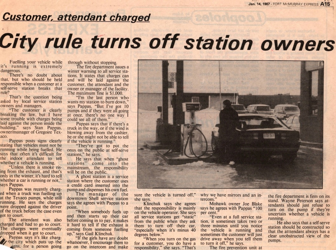 Newspaper clipping from Fort McMurray Express January 14 1987