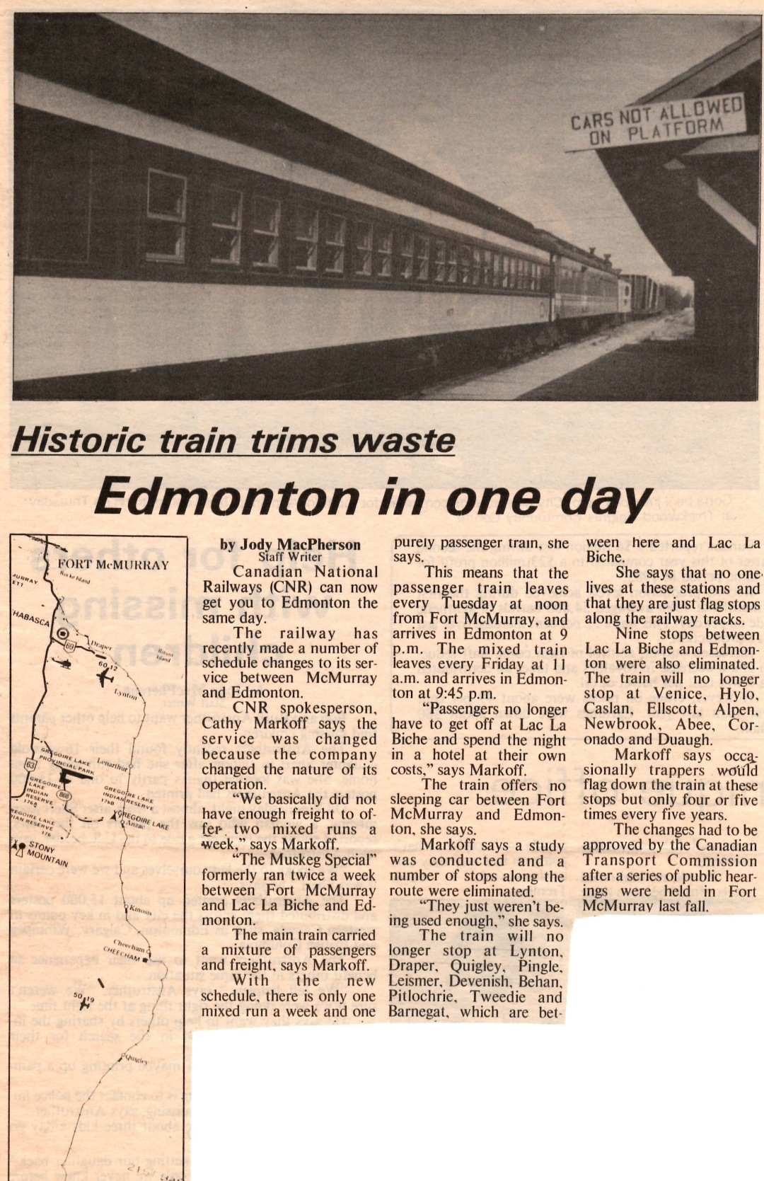 Newspaper clipping from Fort McMurray Express July 1986