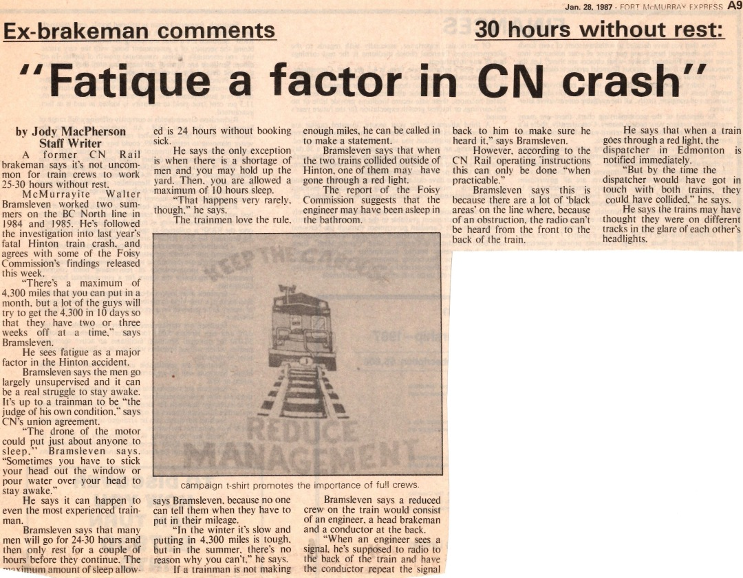 Newspaper clipping from Fort McMurray Express January 28 1987
