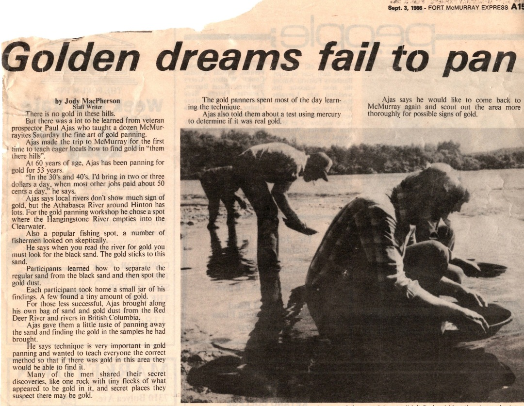 Newspaper clipping from Fort McMurray Express September 3 1986