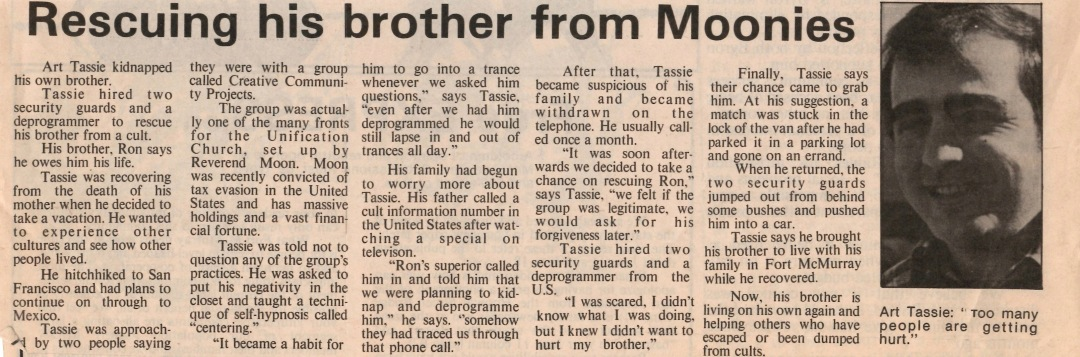 Newspaper clipping from Fort McMurray Express June 25 1986