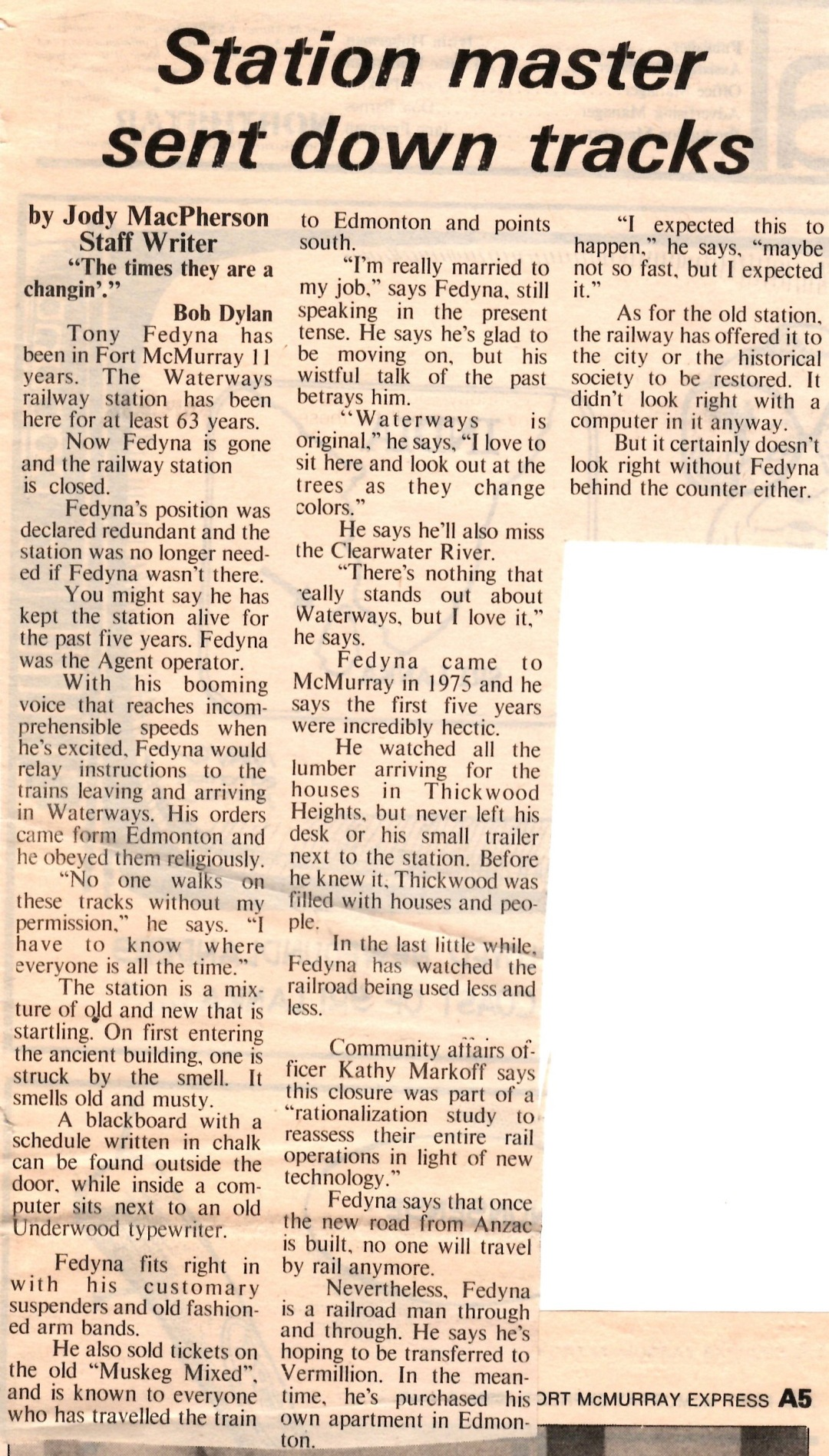 Newspaper clipping from Fort McMurray Express September 3, 1986