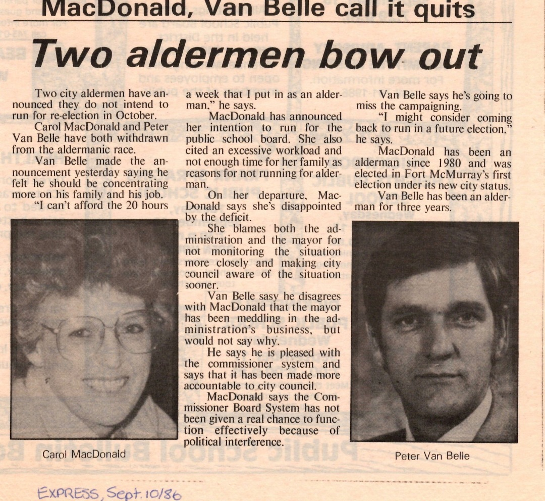 Newspaper clipping from Fort McMurray Express September 10 1986