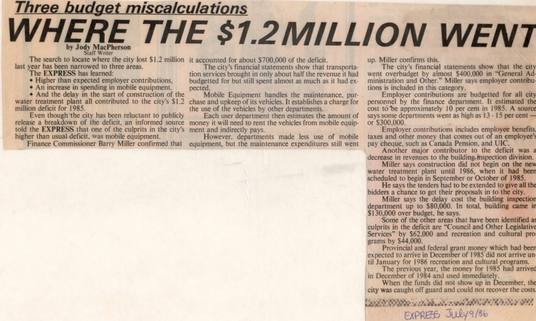 Newspaper clipping from Fort McMurray Express July 9 1986